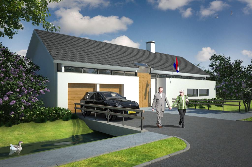 3d promotion fotorealistische 3d exterieur impressie van uw vastgoed - Modern huis exterieur entree ...